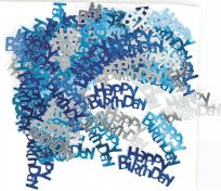 Blue Glitz Table Confetti - Happy Birthday